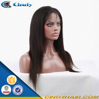 Unprocessed high quality brazilian virgin black hair silk top high ponytail full lace wigs