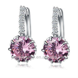 hot sale copper zircon druzy eye ear plugs venders latest fashion crystal hoop earrings