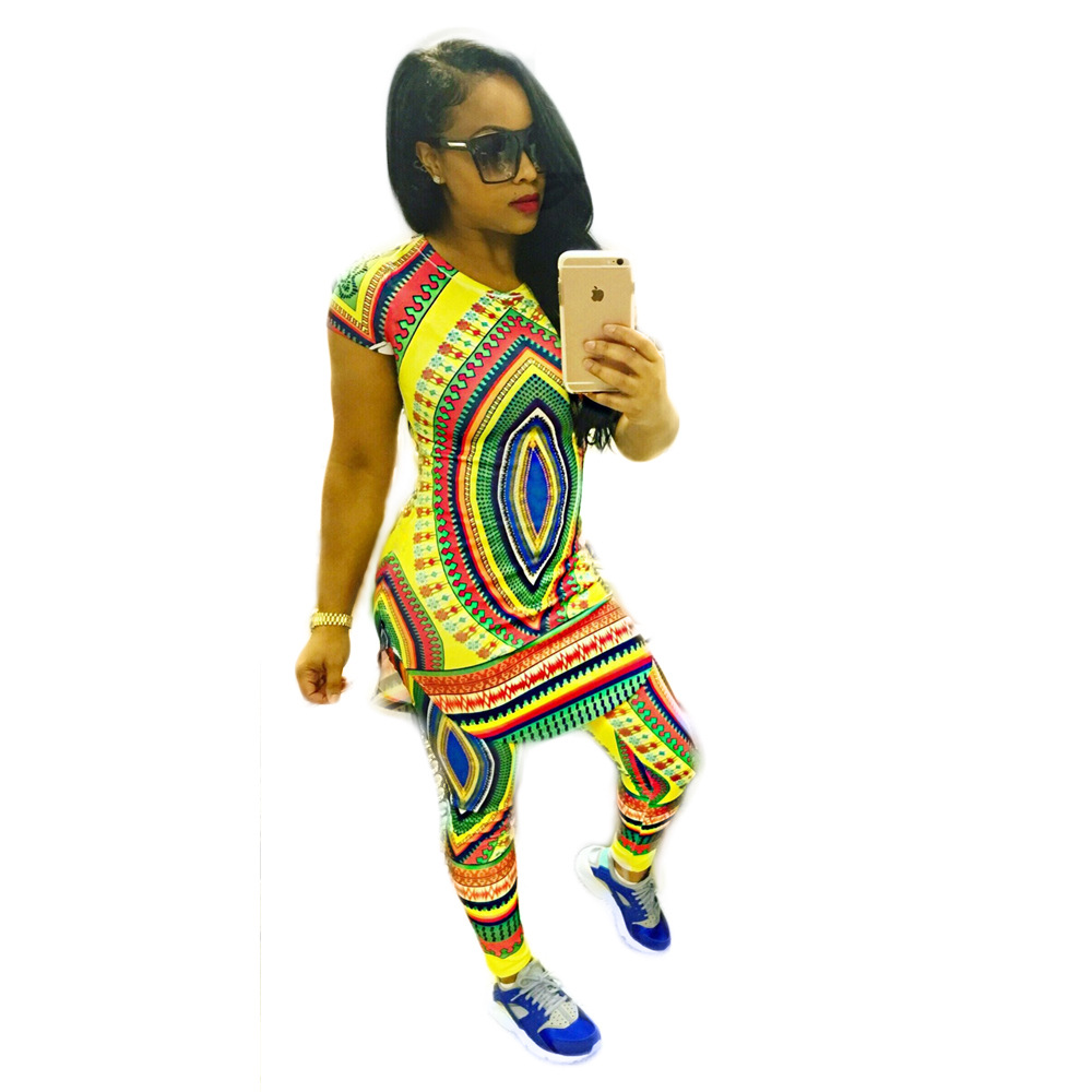 2 Piece Set Women Traditional Clothes Print Bodycon African Dashiki ...