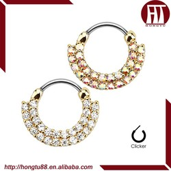HT New Arrival 14g or 16g 316l Surgical Steel Gold Plated Lined Paved CZ Gem Nose Piercing Rings Nose Septum Clicker