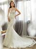 Wholesale Elegant Alibaba White See Through Back Lace Mermaid Wedding Dresses 2015 Cap Sleeve Gowns vestidos de novia LW58