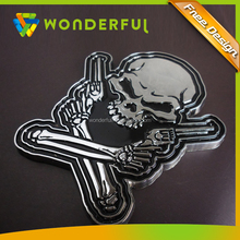 Other Exterior Accessories Type Eco-friendly Euro Standard High Quality Chrome Abs Skull 3D Car Logo