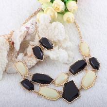 2014 Fashion Negro y negro conjuntos de joyas polígono para las mujeres