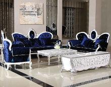 Classic European Royal Design Sofa, Luxury Wood Carved Sofa Set, Living Room Furniture