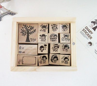Customized wooden stamps, cheap wood carving stamps with boxes