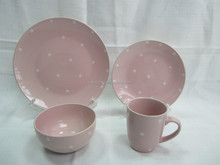 16pc polka dot ceramic dinnerware set