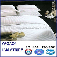 100% white cotton stripe satin fabric for hotel bedding sets