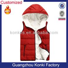 Custom Red Hooded Down Vest