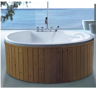 53 inch free standing round whirlpool massage bathtub. Black Bedroom Furniture Sets. Home Design Ideas