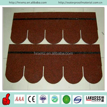 Chinese Red Color Round Shape Fiberglass Roofing 5 tab asphalt shingle