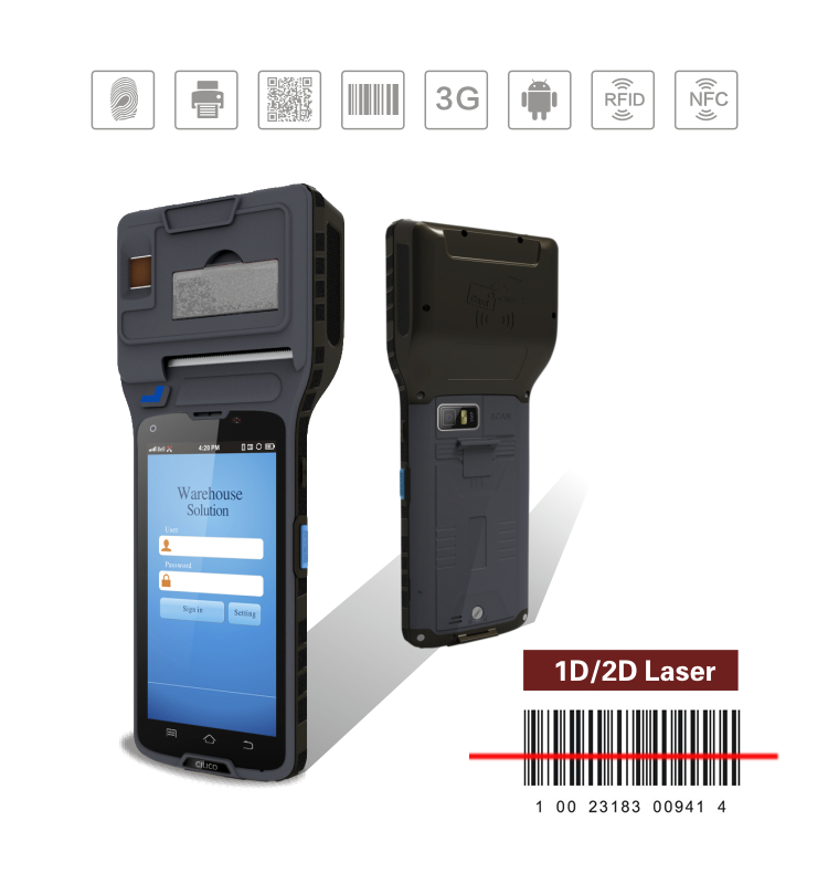 CILICO CM550 handheld barcode scanner printer with 1D/2D barcode scanner and finger printer 3g wifi