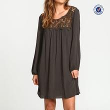 2015 China clothing factory OEM women long sleeve black floral crochet crepe dress