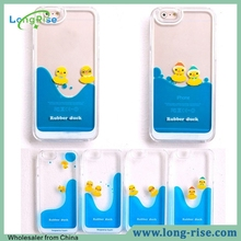 Cheap Price Cute Swiming Rubber Duck 3D Liquid Phone Case for iPhone 6