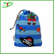 wholesale cheap pirate mini drawstring fabric kids party bag