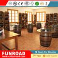Mostrador expositivo mesa escaparate de la exhibision de vino con cubo de madera para almacen de vinos