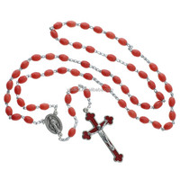 Coral Red Plastic Rosary - Luminous