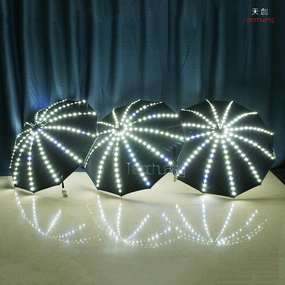 Sıcak Satış! renk değiştirme LED ışıklı siyah şemsiye feneri fonksiyonu ile