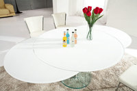 Beautiful Blossom Style Round Expanding White Glass Dining Table,Kitchen Glass Table YL818