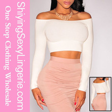 online shopping for wholesale clothing White Off-The-Shoulder Knit plain crop tops wholesale