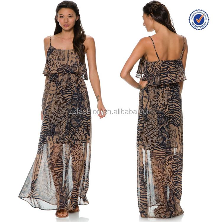 Alibaba express wholesale high fashion leopard printed fancy maxi