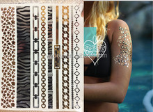 Tattoo Sticker Type and Temporary Feature newest hot sale metallic temproray body tattoos gold silver jewelry tattoos DY01