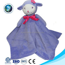 Cute new born baby blanket toy custom purple sheep toy animal head plush baby blanket