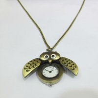 Wholesale Hot Antique Bronze Owl Shaped Necklace Watch jewelry
