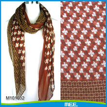 voile print 100% polyester scarf