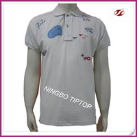 Custom design white 100%cotton pique men polo t-shirts 2015,patch embroidery polo shirt for men