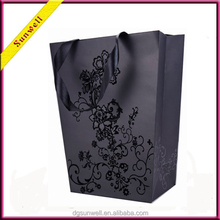 Free sample black rose designed paper gift bag&with recycle fashion paper bag