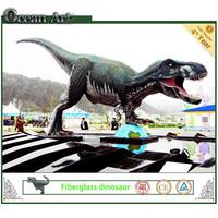 Artificial life size fiberglass dinosaur for amusement park