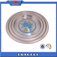 4pcs Round try stainless steel tray with blue flower serving tray