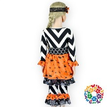 High quality boutique children's clothing Halloween orange black spider print in china dress boutique kids 100% cotton outfit