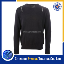 Bulk mens cool pullover hoodie sweater in plain color with shoulder zipper design