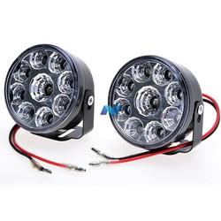 2x Front 9LED Car Fog Tail Lamp Round LED Daytime Running Light