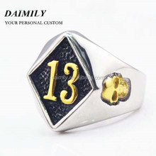 Wholesale NO.13 Golden Number 13 Gold Skull Biker Ring in Stainless Steel Jewelry