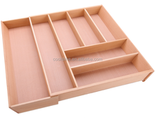 Solid Beech Extending Cutlery Tray, Extendable Drawer Oraganizer