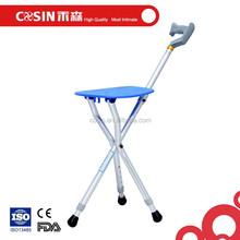 Tripod folding stool walking stick with chair