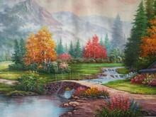 Wholesale good qulaity large frameless thomas style landscape canvas oil painting