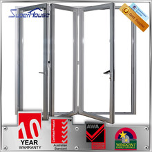 New design AS2047 AS2208 certified folding door mechanism with double safety glass