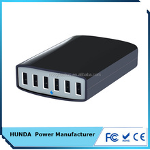 TUV approved 6 port 60 watt smart usb charger with smart IC and auto detect technology for US market