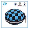 Unique Checkered Round Shape Earphone Handsfree Headset Hard Case with Zipper Enclosure cellphone bag