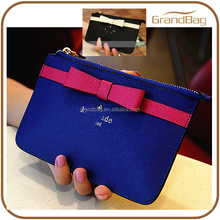 Bowknot Genuine Cow Leather Saffiano Leather Coin Purse Clutch Wallet for Lady