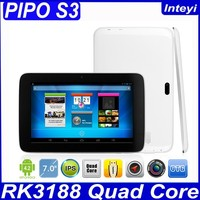 Brand New Pipo S3 Pro Quad Core Andriod WIFI 3G External 7 inch 1024*600 HD IPS Tablet PC 0.3+2 MP Good Camera
