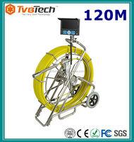 Push Camera Sewer Video Wall Inspection Camera System 120M Fiberglass Cable 12pcs White LED lights, DVR Endoscope Camera
