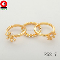 3 pieces 1set flower shaped gold rings simple fashion hand made jewelry diamond ring sets for women