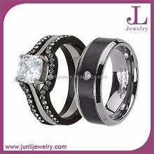 His And Her Fashion Stainless Steel Ring Set Cubic Zircon Engagement Ring Wedding Ring