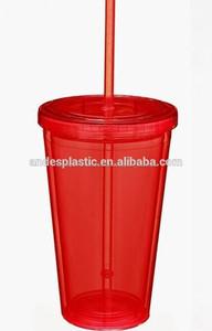 oem de doble pared de plástico starbucks vaso con paja
