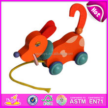 2015 New dog design wooden pull toy for kids,popular colorful push toy for children,hot sale wooden toy pull for baby W05B011