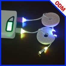 wholesale cell phone accessories colorful flat noodle micro usb cable led cable light for iphone 6 cable